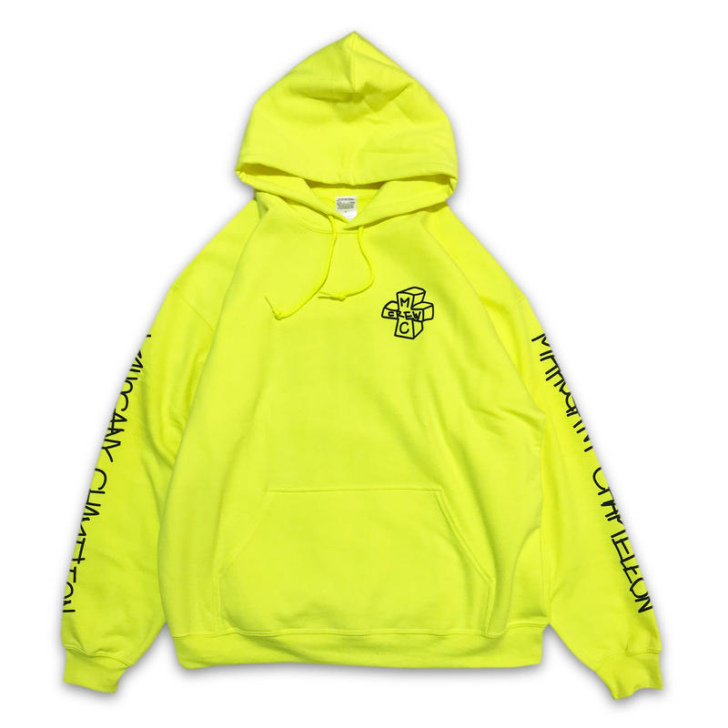 """NEON TAGGING"" SWEAT PARKA  (LIME)"