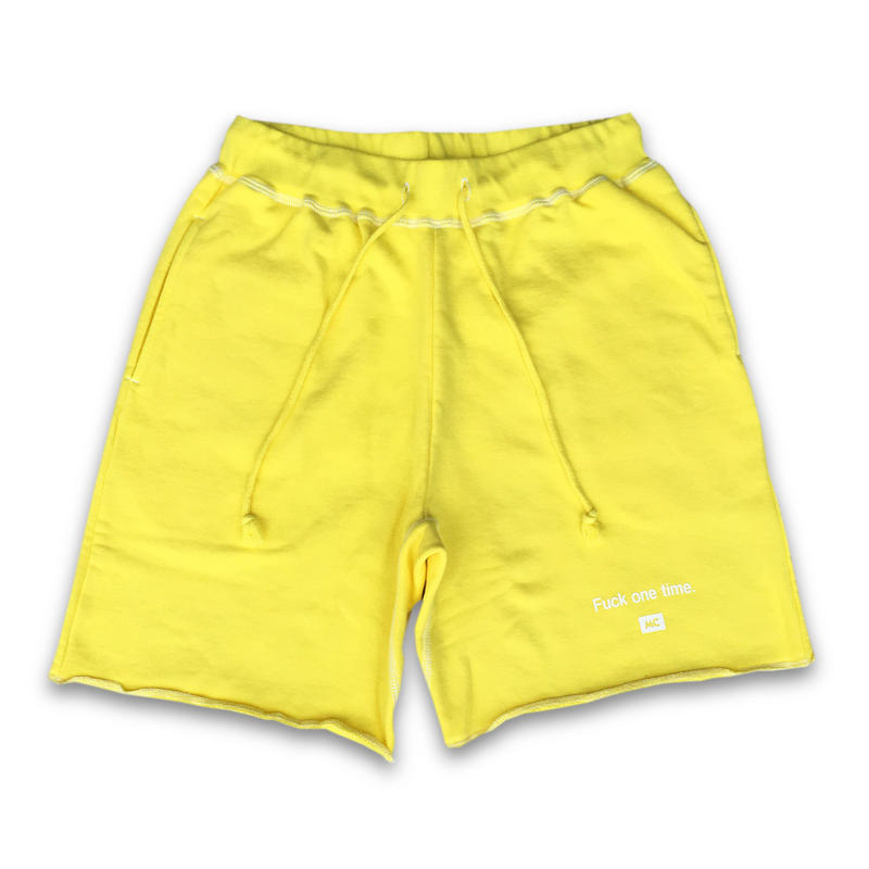 """Fuck one time"" SUMMER RESORT SHORT SWEAT PANTS  (PINE YELLOW)"