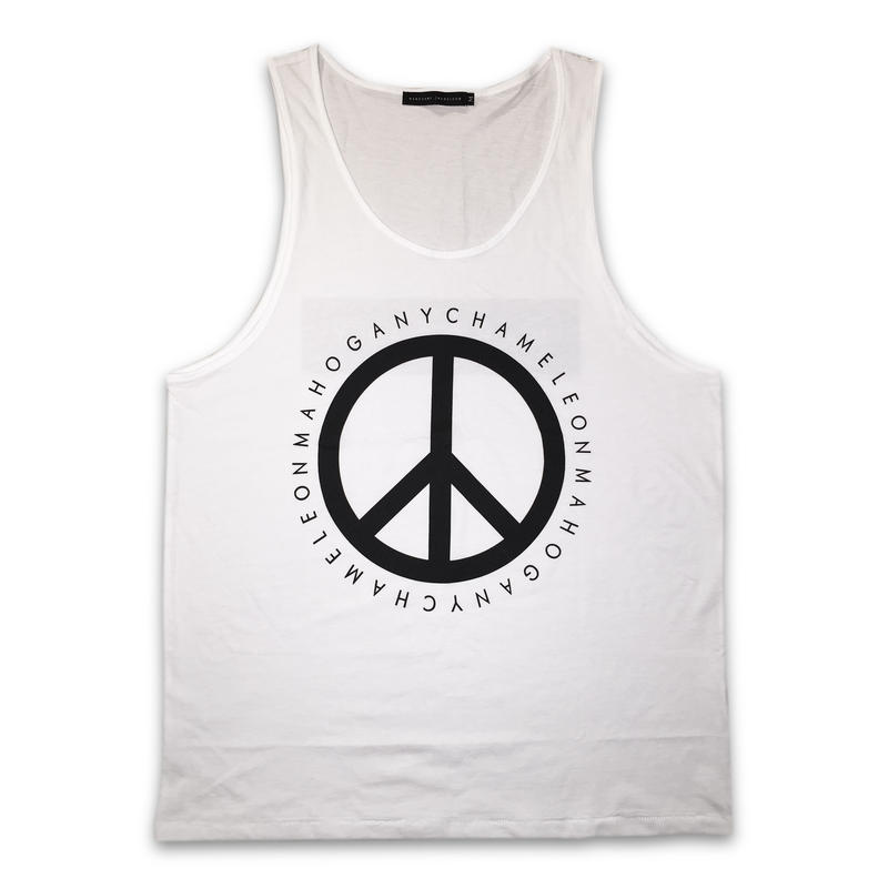 """PEACE & BOX"" TANK TOP (WHITE / BLACK)"