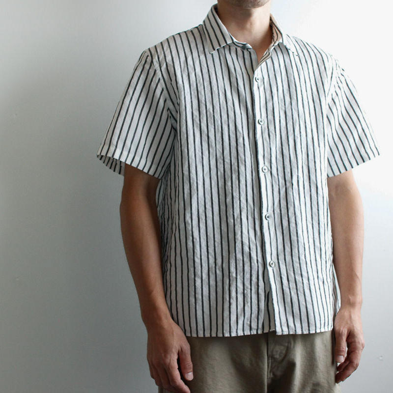 original cotton linen/ short sleeve shirt/white/size1(MAN)