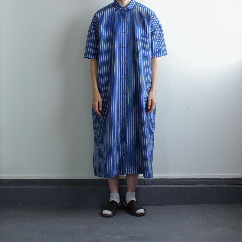 original cotton linen stripe/ one piece/blue