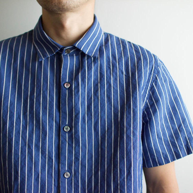 original cotton linen/ short sleeve shirt/blue/size1(MAN)