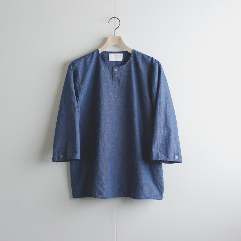 indigo cotton linen/pullover shirt