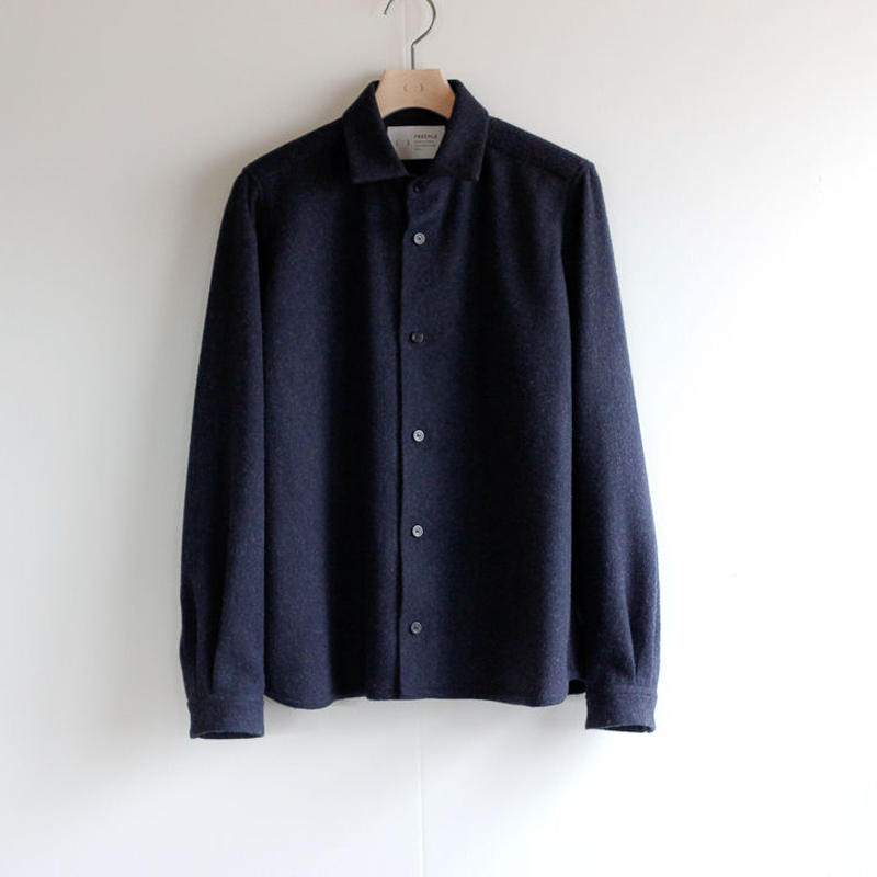 powderyarn eamirudo wool shirt/navy