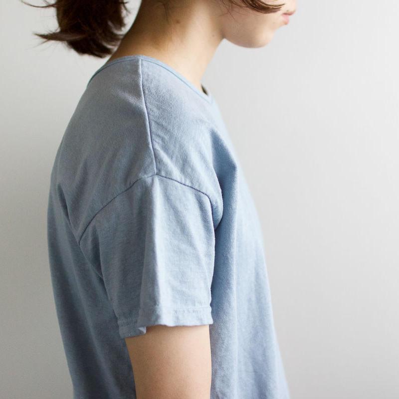 used plain stitches/neck reversible tshirt/fogblue
