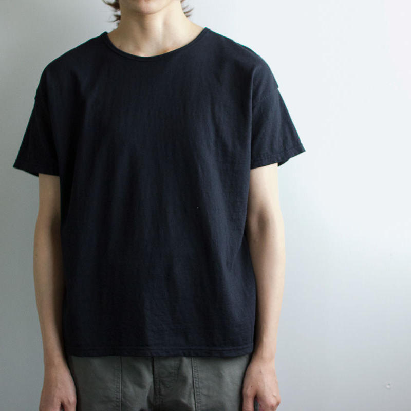 used plain stitches/neck reversible tshirt/black