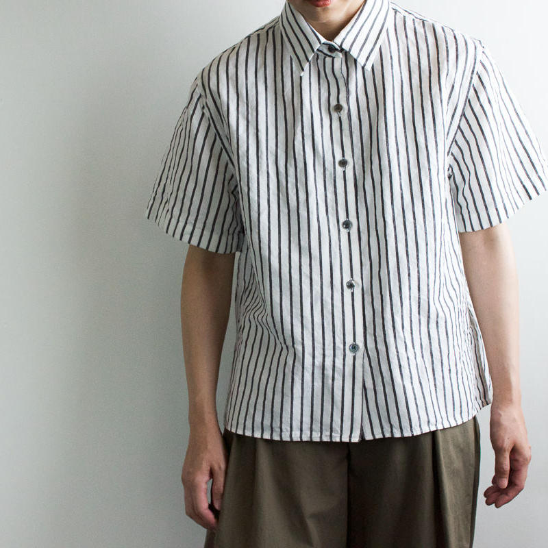 original cotton linen/ short sleeve shirt/white/sizeFREE