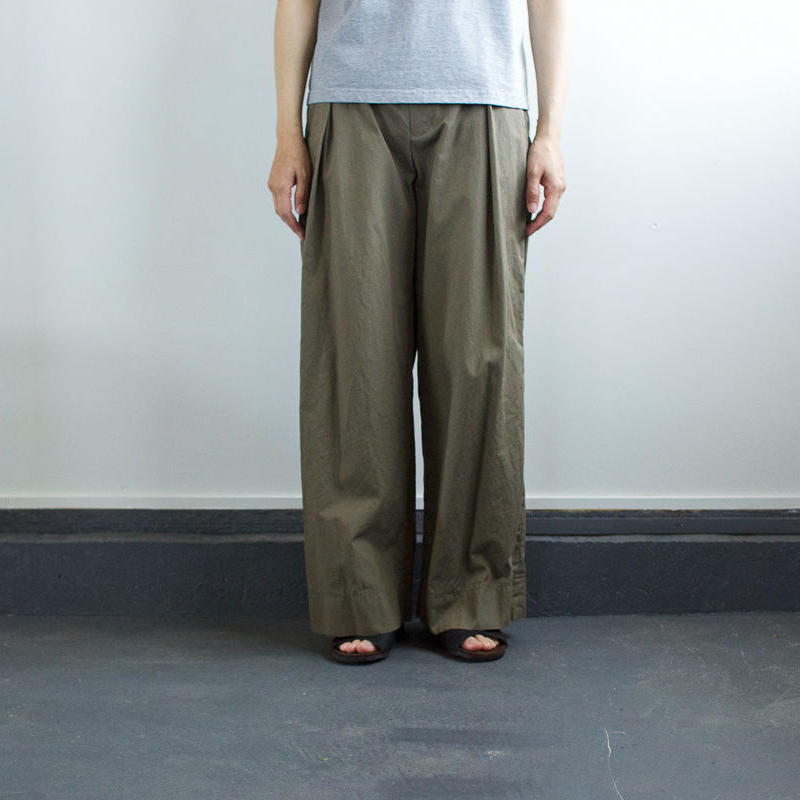 weather cloth cotton linen/wide pants/khaki
