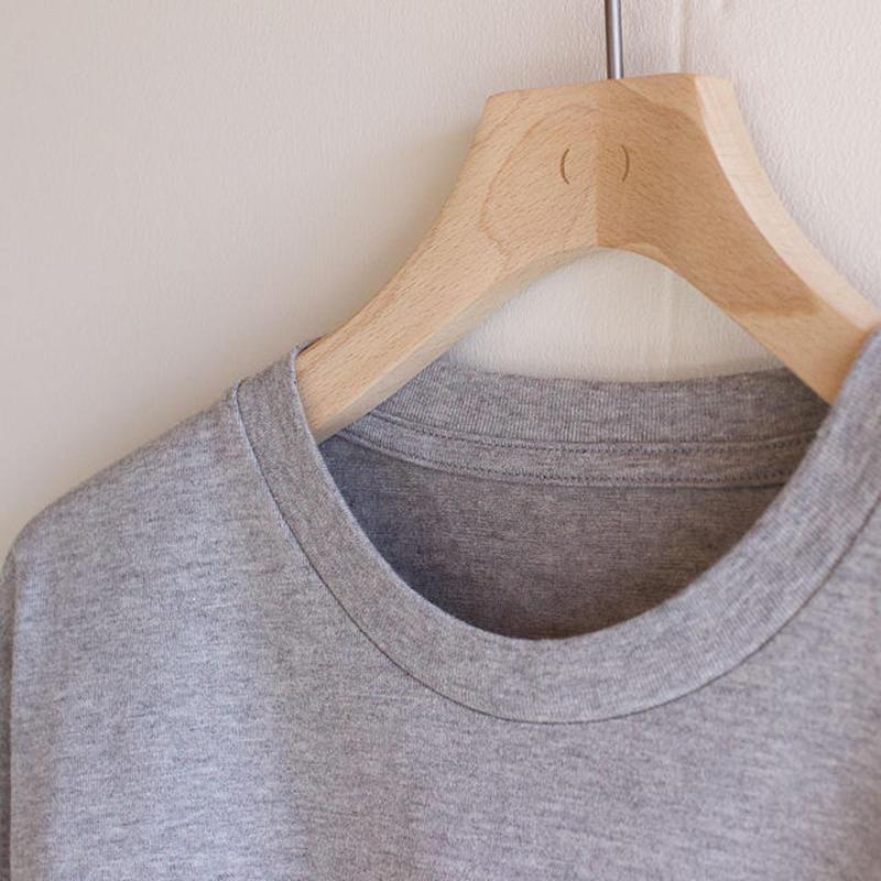 combed yarn enbroidery mark tshirt/heather gray