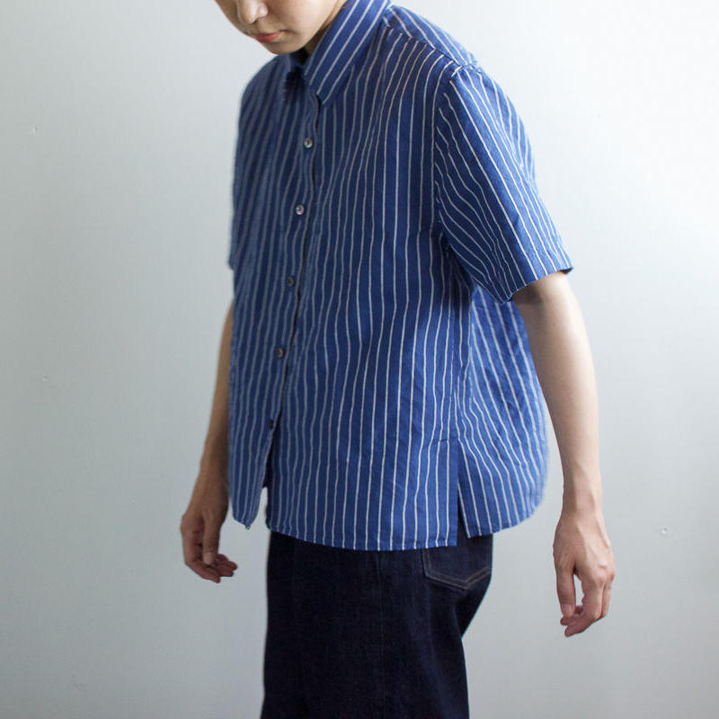original cotton linen/ short sleeve shirt/blue/sizeFREE