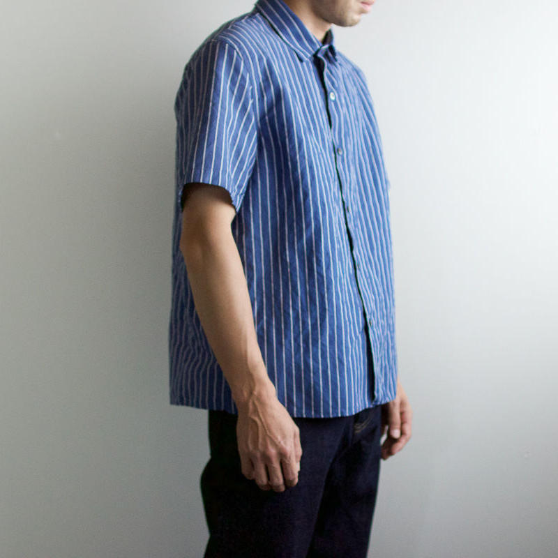 original cotton linen/ short sleeve shirt/blue/size2(MAN)