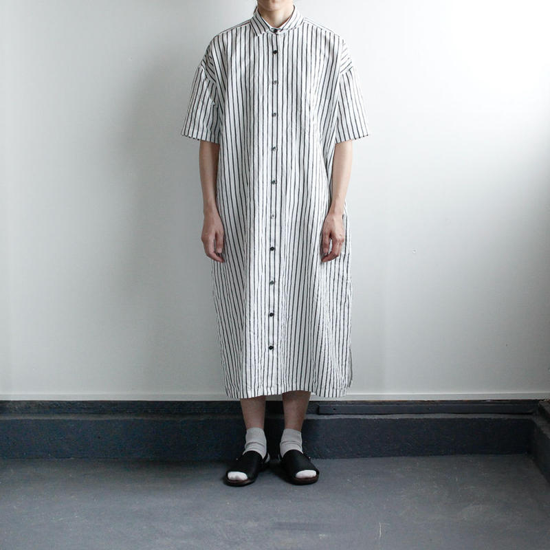 original cotton linen stripe/ one piece/white