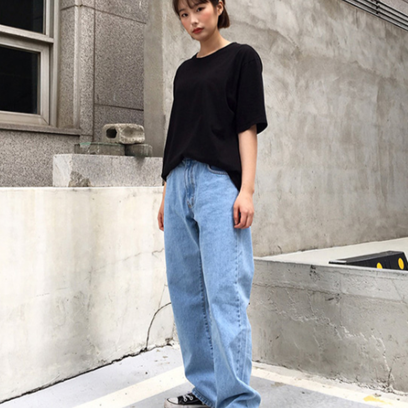 ユニセックス/シンプルデニムリラックスジーンズパンツ2色