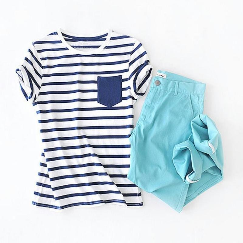 メンズ涼しいカラー青ボーダー半袖コットン綿Tシャツトップス