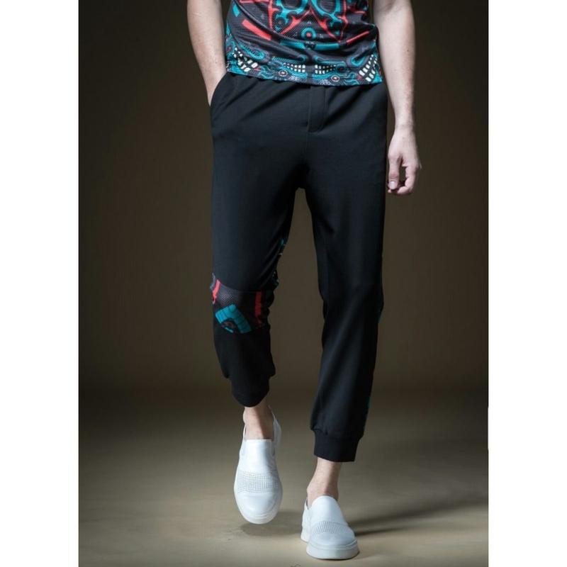 メンズポイント模様黒カジュアルジョガーパンツ