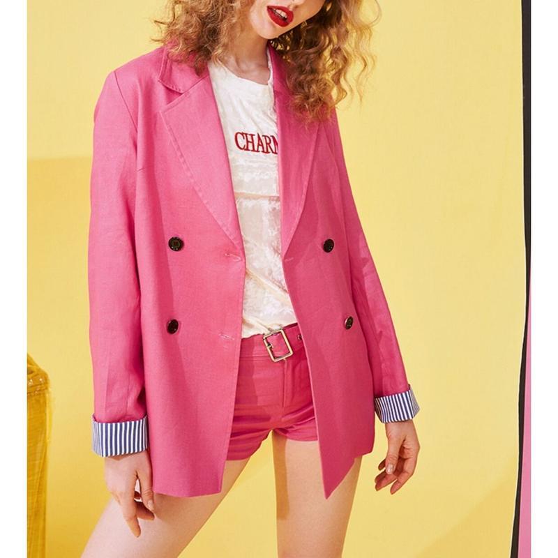 春セットアップ/ピンクテーラードジャケット+ロゴショートパンツ