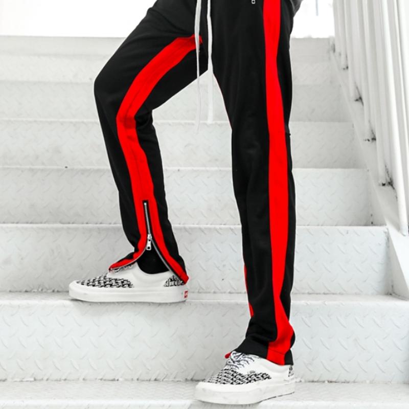 ユニセックス3色サイドラインジップ付きカジュアルパンツ