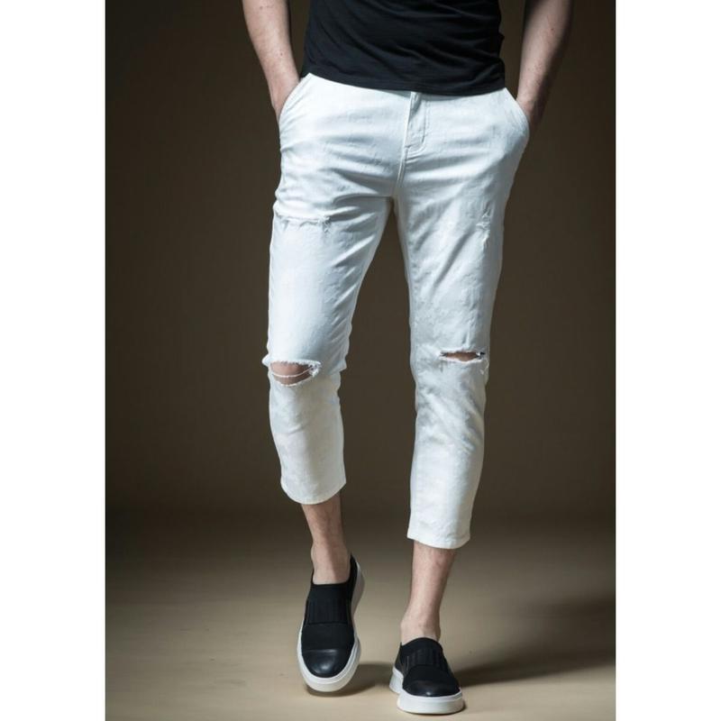メンズ/オフコーデダメージデニム白シンプルジーンズパンツ