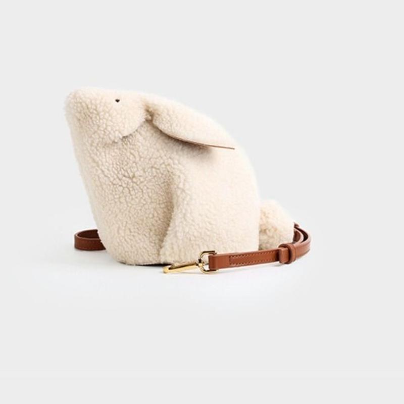 かわいいうさぎふわふわボア素材コンパクトショルダーバッグ