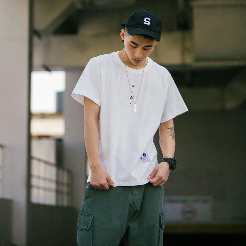 メンズ/ボトムス選ばずおしゃれシンプルロゴ半袖Tシャツ3色