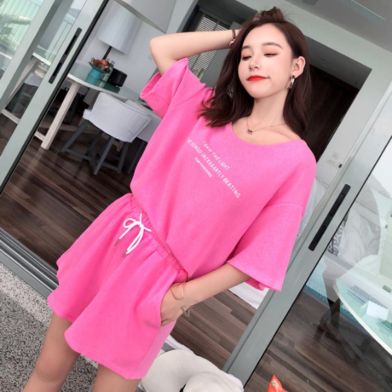 スポーティセットアップ/ロゴTシャツ+ショートパンツ紫/ピンク