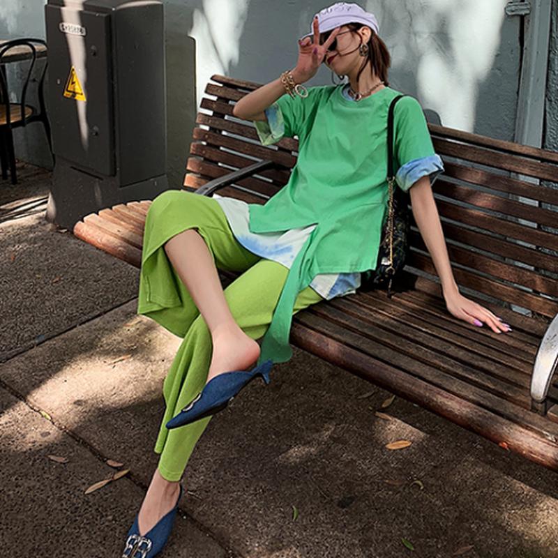 緑スリットコットン綿ウエストゴムリラックスパンツ