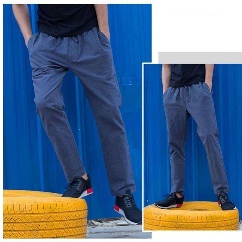 メンズ春夏コーデシンプルコットン&リネン素材パンツ5色
