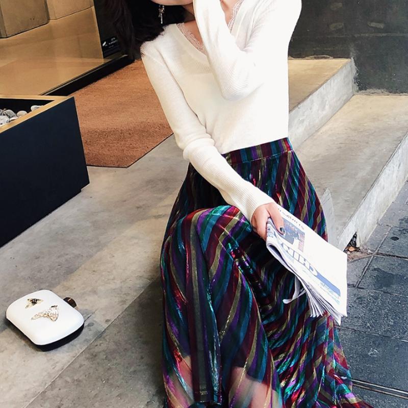 キレイなマルチカラー斜めストライププリーツロングスカート
