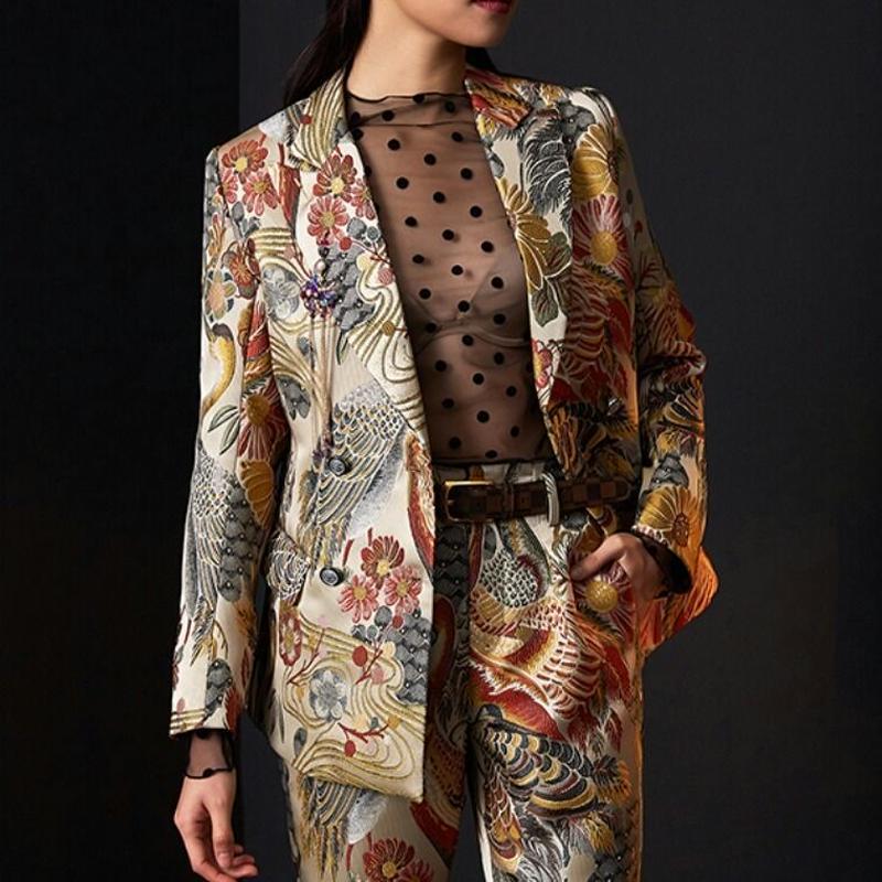 スーツセットアップ/鳥&花柄テーラードジャケット+パンツ