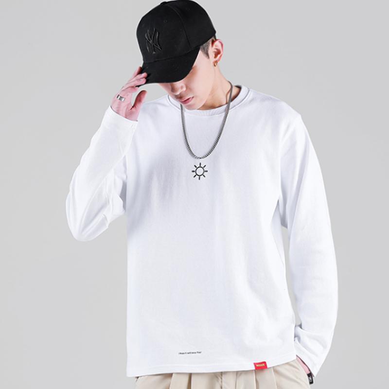 メンズ/シンプルワンポイントお天気マーク風長袖Tシャツ3色