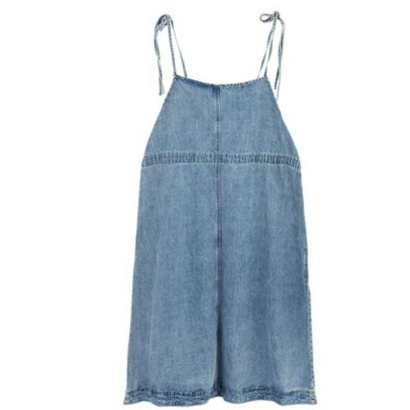深いポケット付紐調節可能デニムサロペットスカート