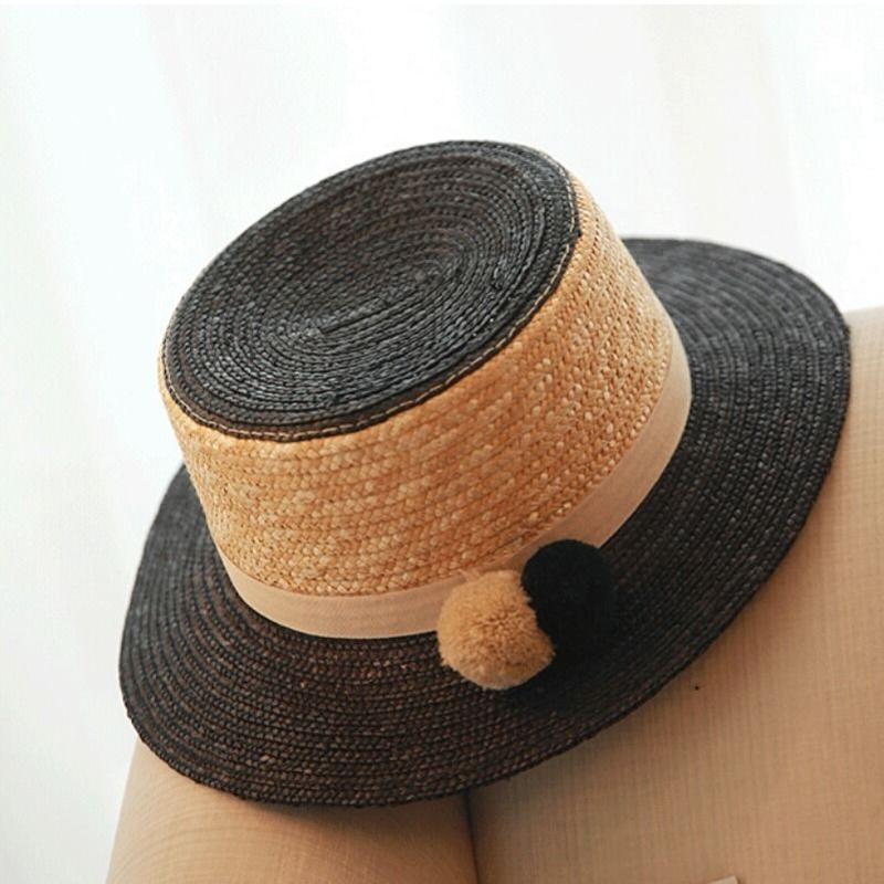 春夏コーデ/ボンボンがかわいい黒バイカラーストローカンカン帽