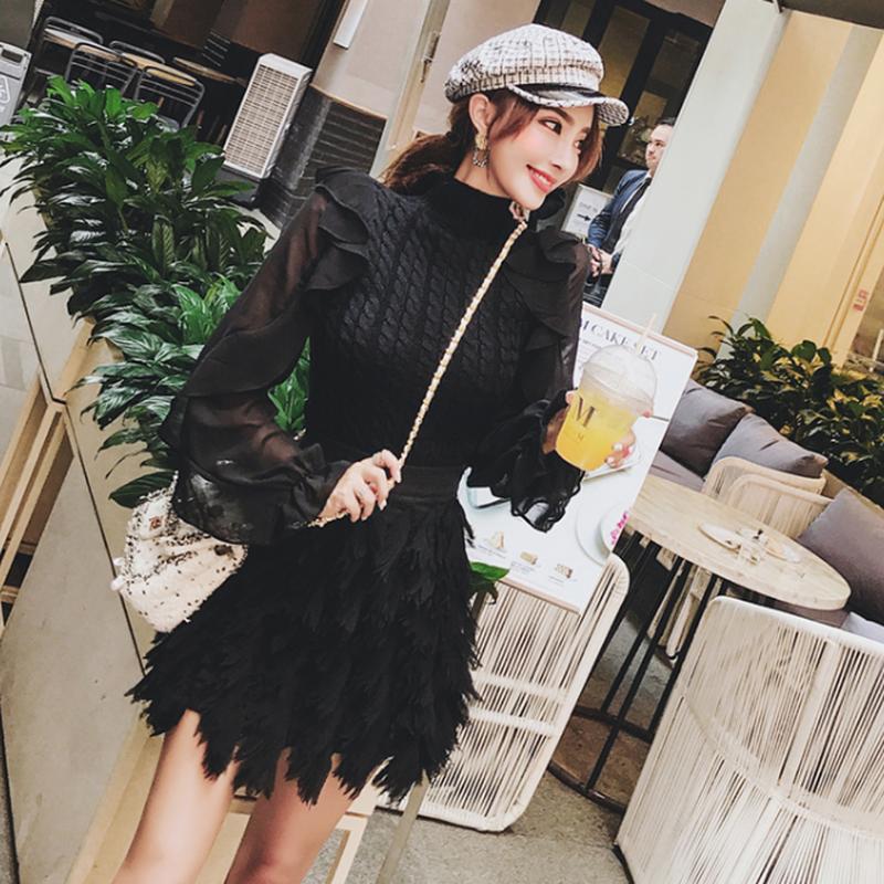 デート/パーティーにもおしゃれ黒立体的なミニスカート