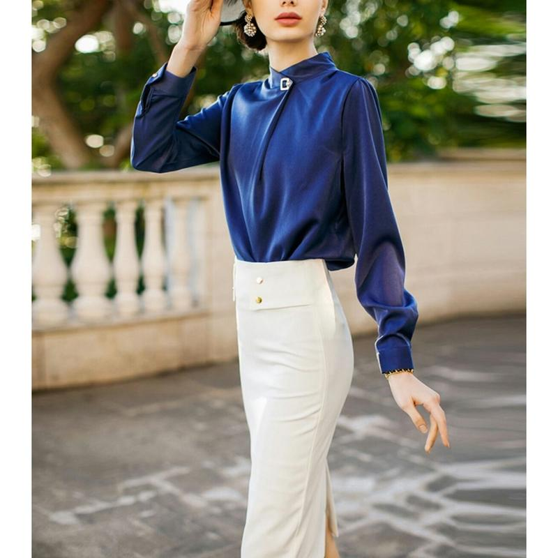 青/白コントラストセットアップシャツトップス+ペンシルスカート