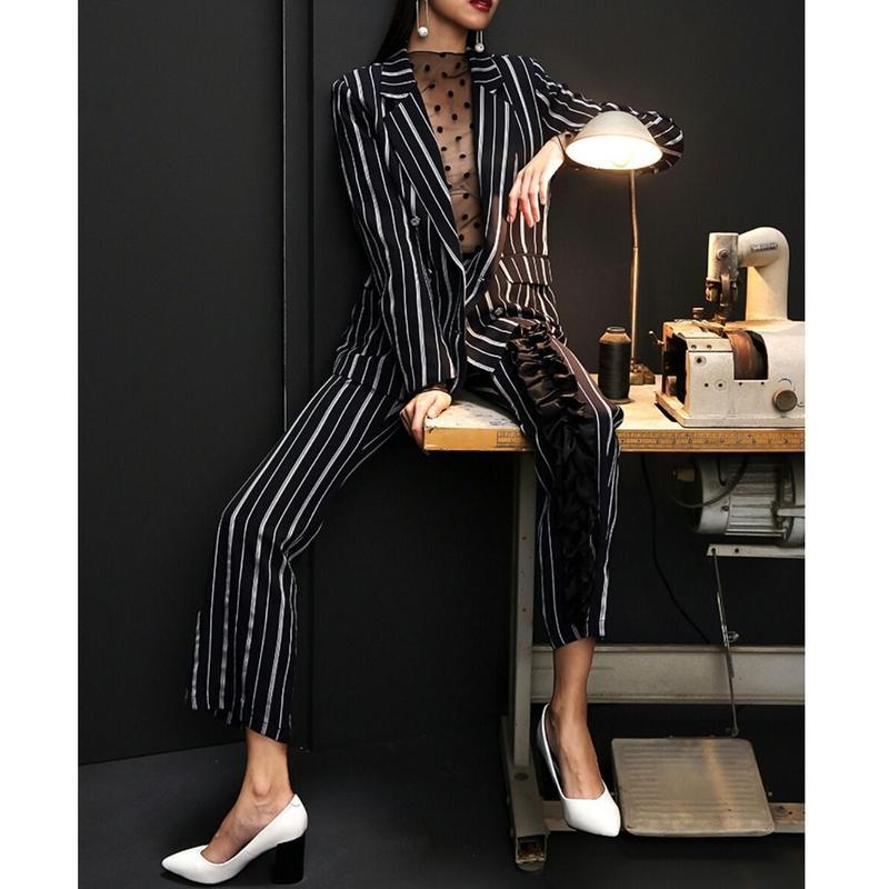 スーツセットアップ/ネイビーストライプジャケット+パンツ