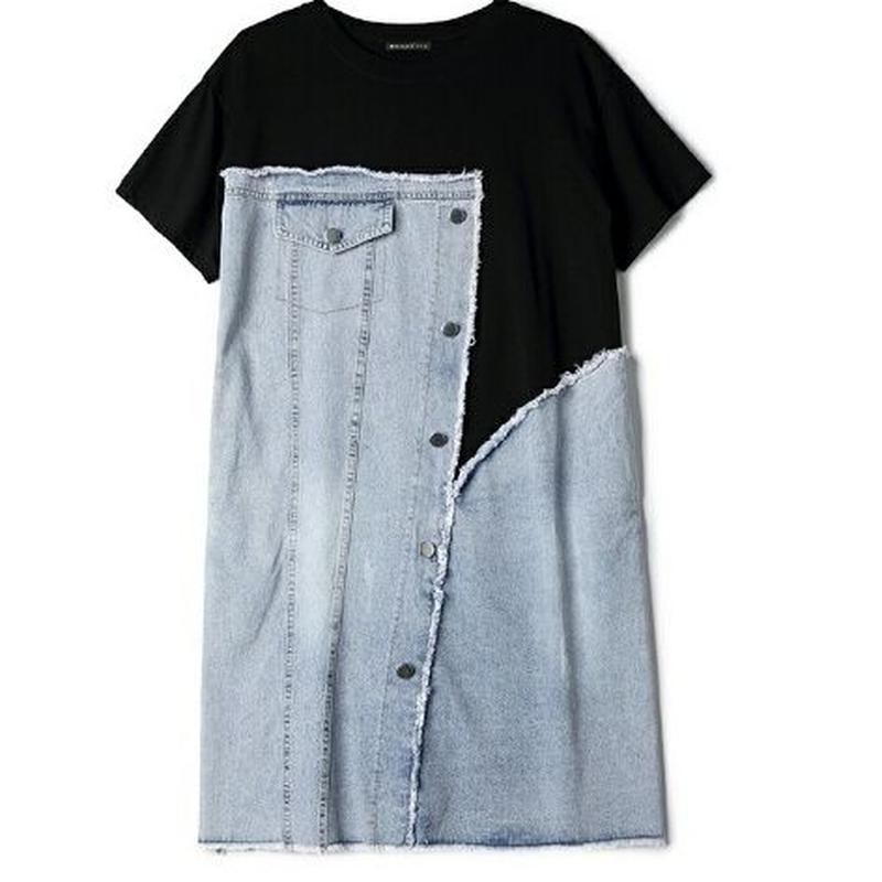 体系カバー異素材シャツ切替半袖デニムワンピース