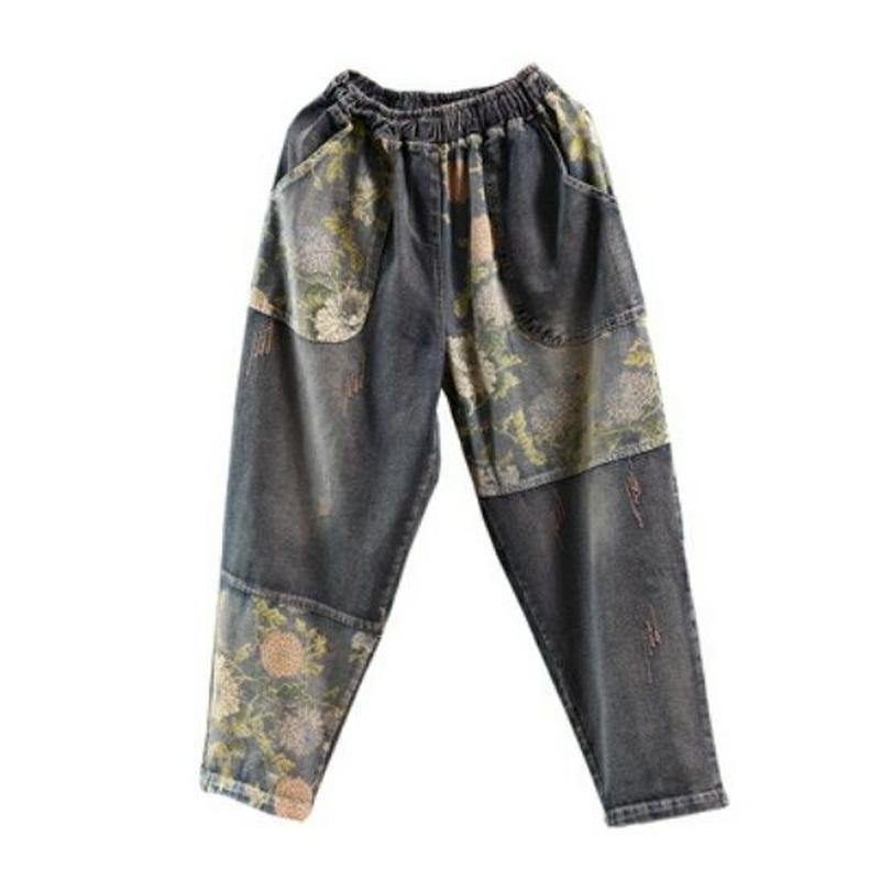 3タイプの模様ドット柄&花柄デニムゆったりサイズのジーンズ