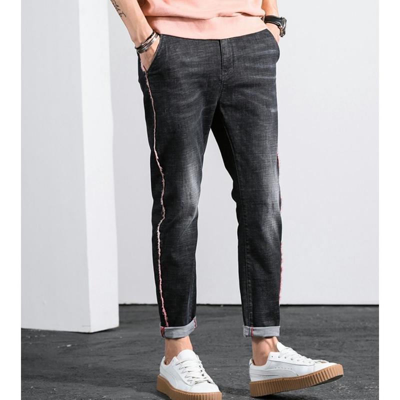 メンズサイドライン色落ちがおしゃれな黒デニムジーンズ