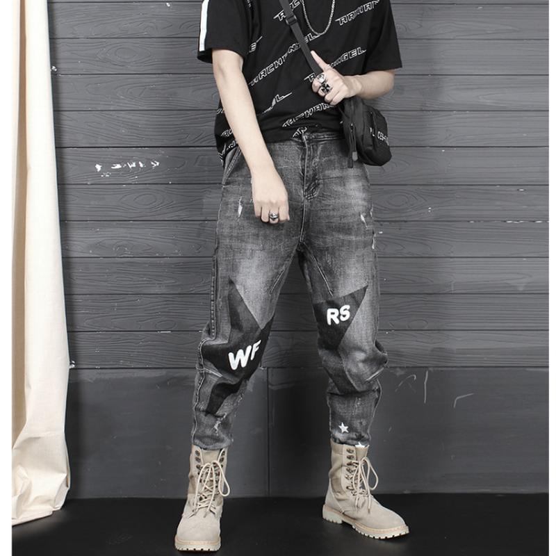 メンズ大きい星&ロゴ&ダメージ黒デニムジーンズパンツ