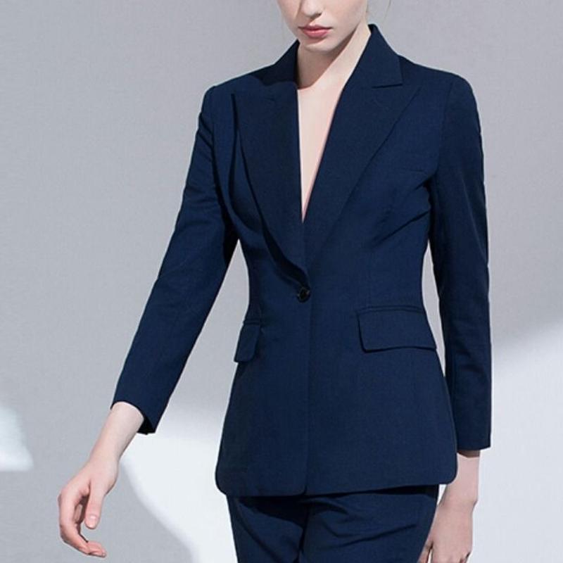 スーツセットアップ黒/青ワンボタンジャケット+パンツ