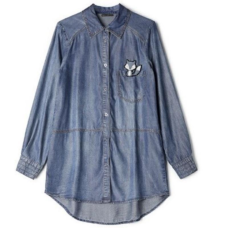 かわいいポイント狐モチーフ刺繍長袖デニムダンガリーシャツ