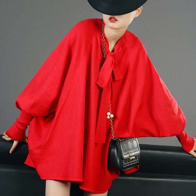 青/赤ポンチョ風袖ボリュームニット大きいサイズのトップス