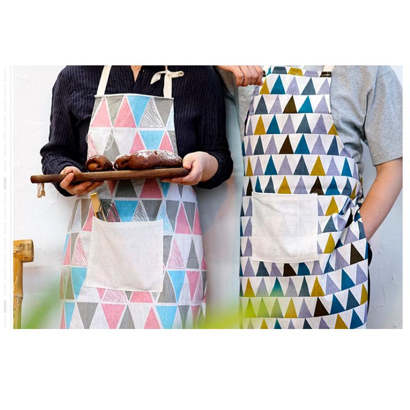 キッチンスタイル2タイプマルチカラーおしゃれ三角模様エプロン