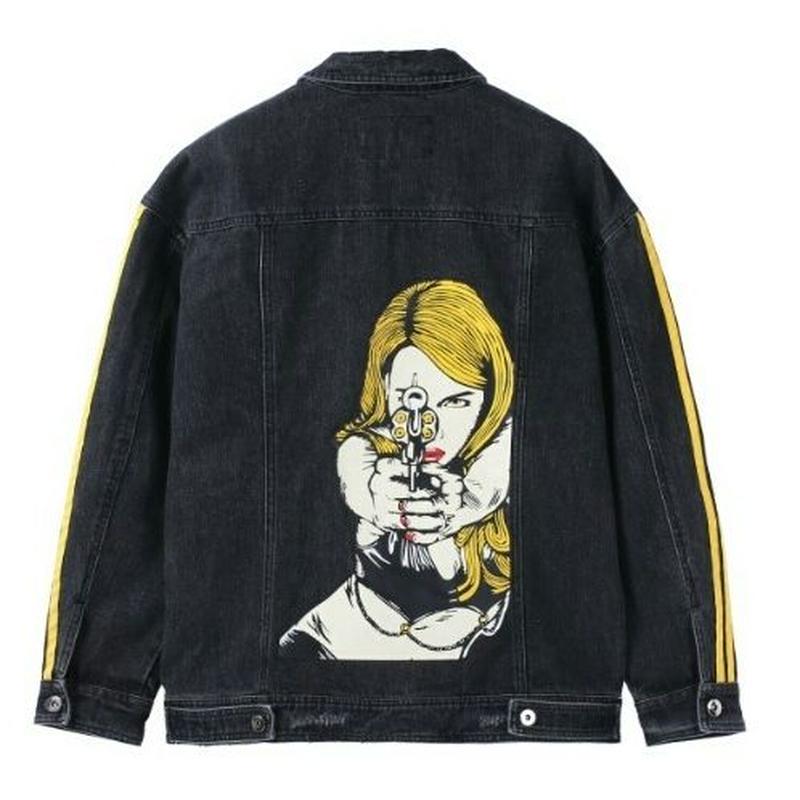 メンズかっこいい女性鉄砲バックプリント黒デニムジャケット