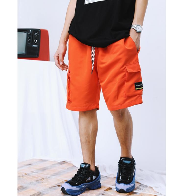 メンズボーダー紐サイドポケットハーフパンツ黒/オレンジ