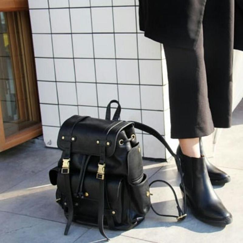 小旅行/アクティブな人にも◎黒/グレー外側ポケット付きリュック