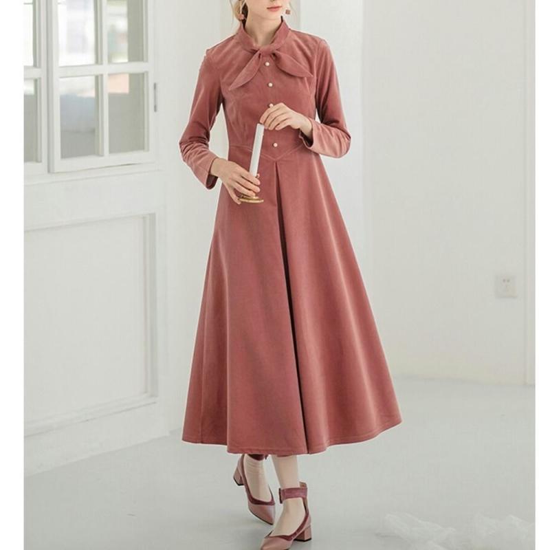 ピンク/黒リボン付きコーディロイハイウエストワンピース