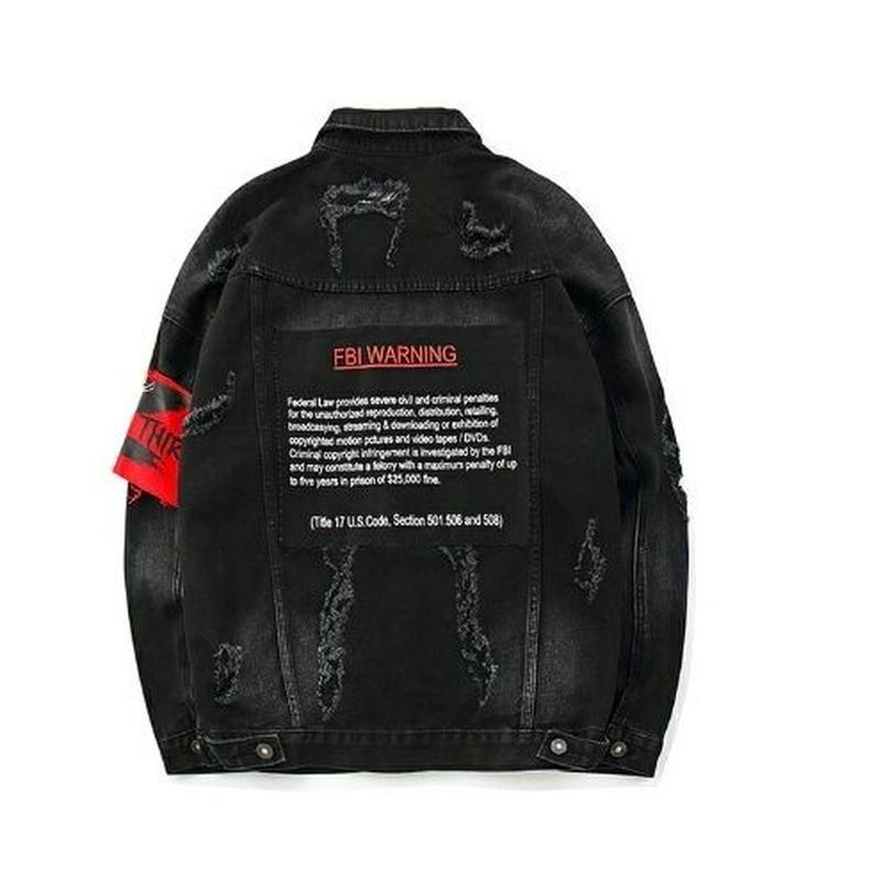 メンズバッグロゴハイダメージ黒デニムジャケット
