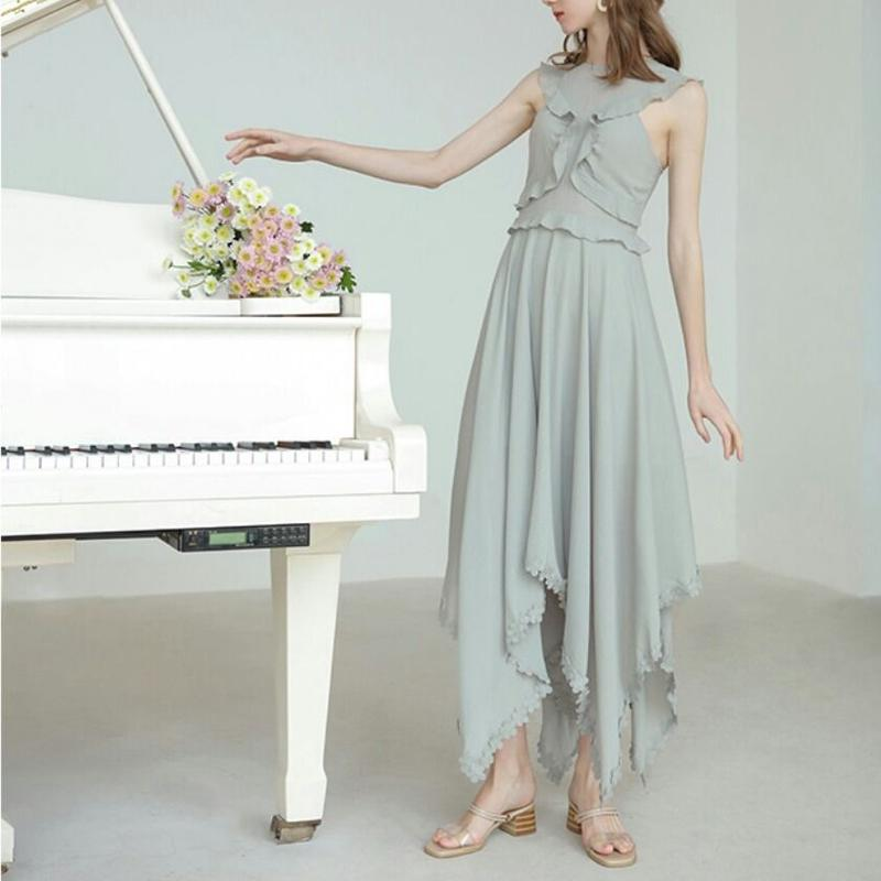 フリルがかわいいヘムお花アンバランスロングフレアドレス2色