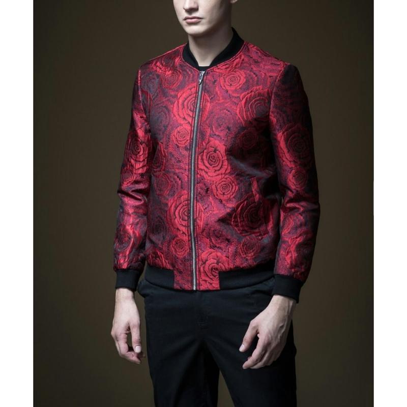 メンズ黒/赤バラ風模様ジョドーショート丈ブルゾン